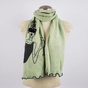 Wooden Ships Light Green Lady Print Scarf